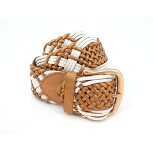 Linea Pelle Copper/White Braided Leather Belt